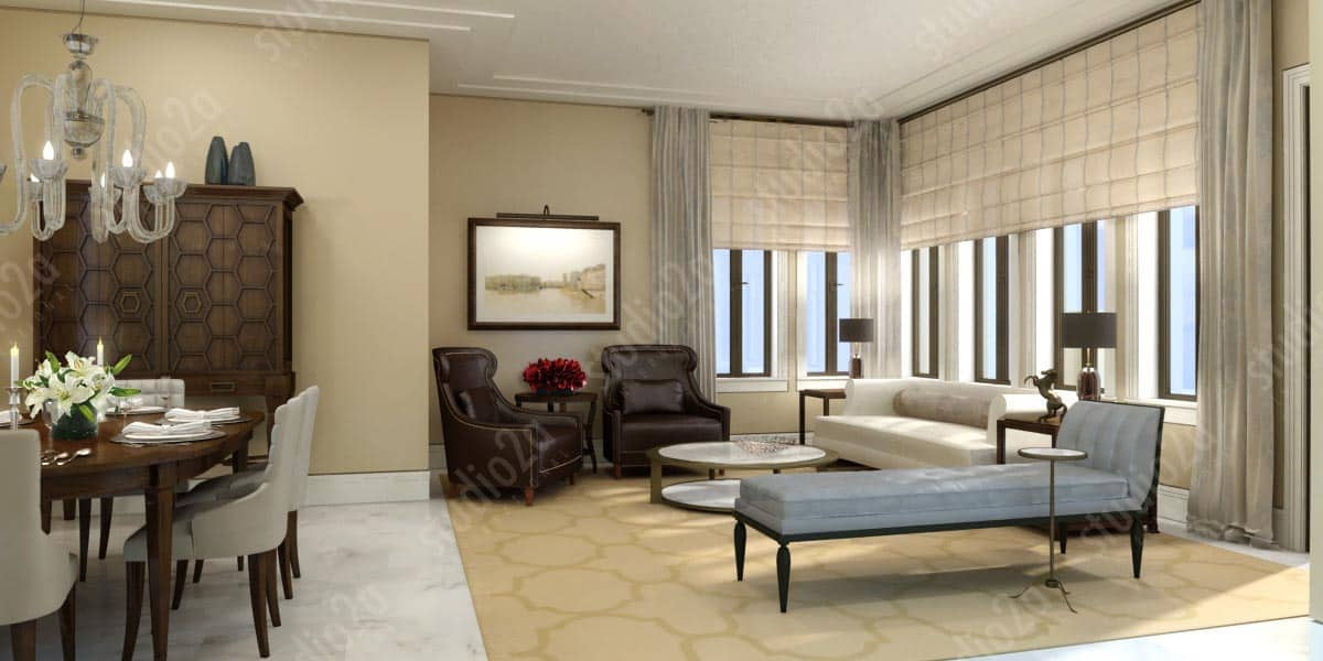3d rendering interior design condo chicago