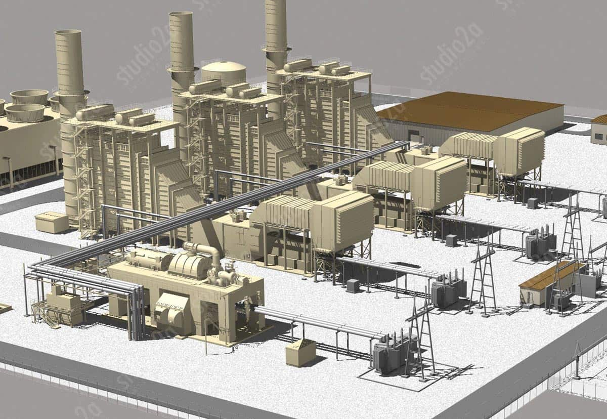 3d engineering rendering power plant