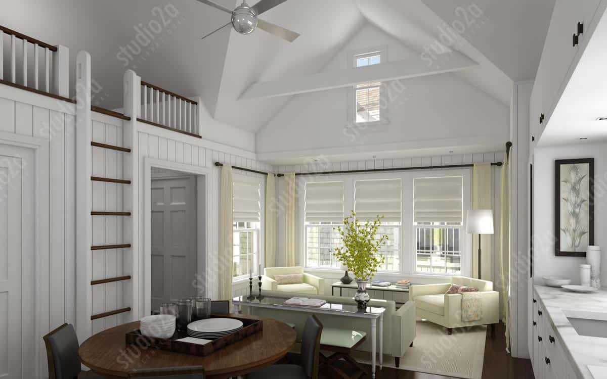 3d architectural rendering interior Nantucket residence