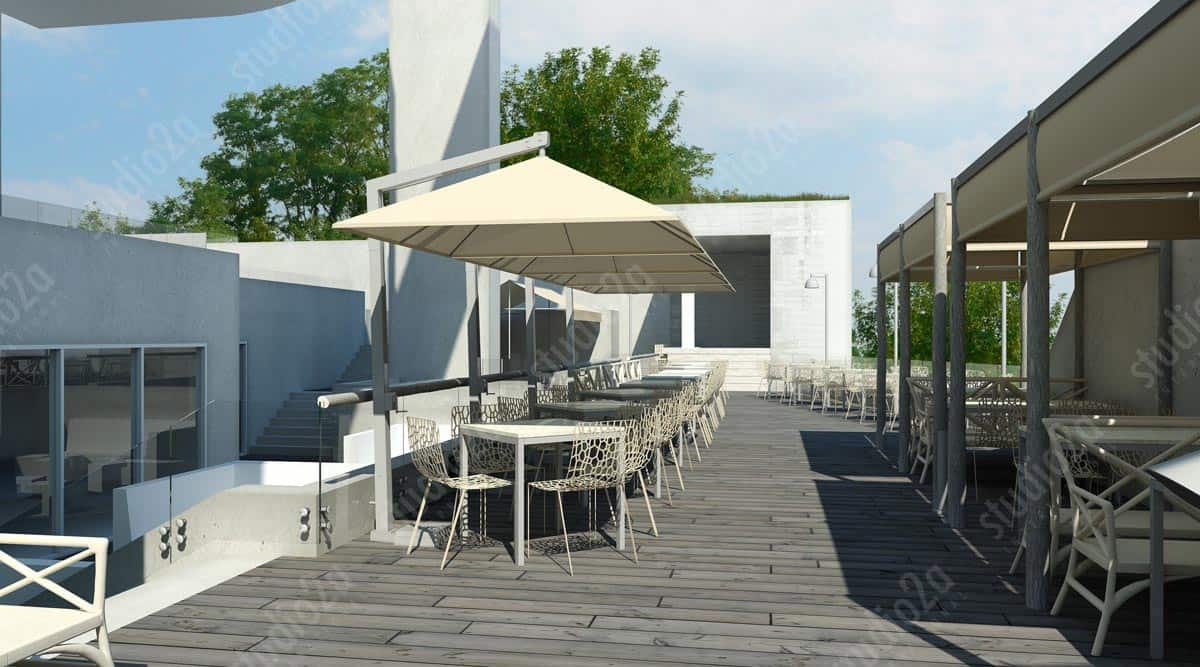 3d rendering roof hotel NYC New York
