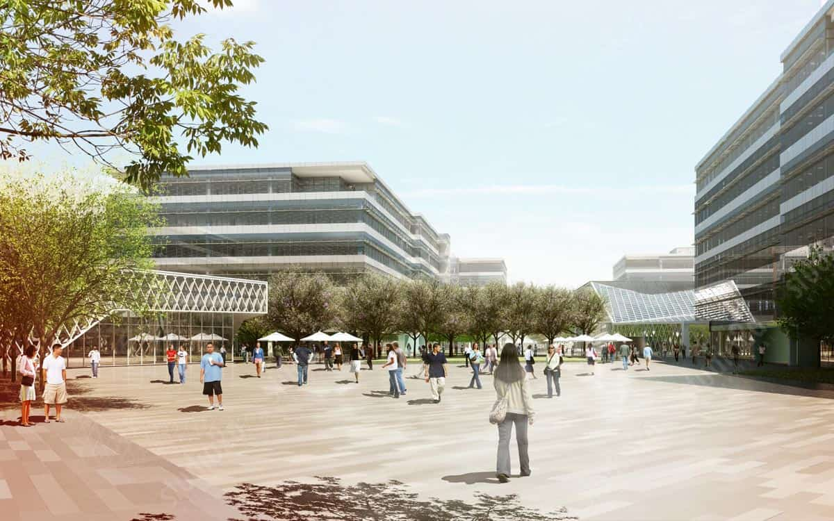 3d architectural rendering exterior yahoo campus