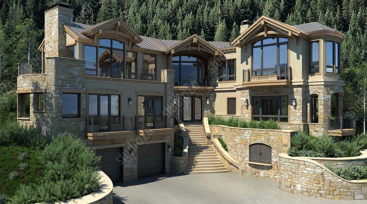 3d rendering exterior Aspen residence Colorado