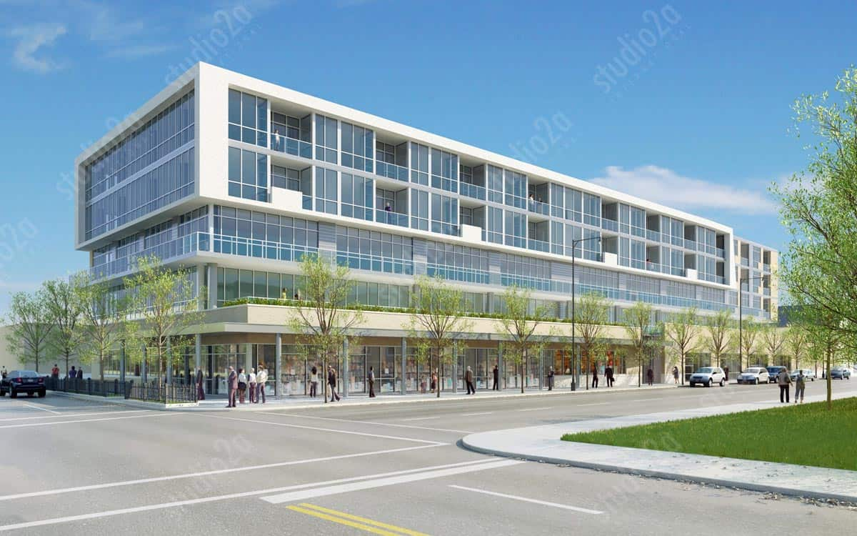 3D exterior architectural rendering west side chicago condo development
