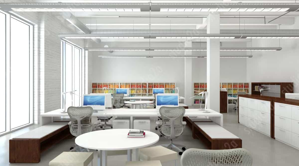 3d rendering design concept animation chicago office design for Office new design