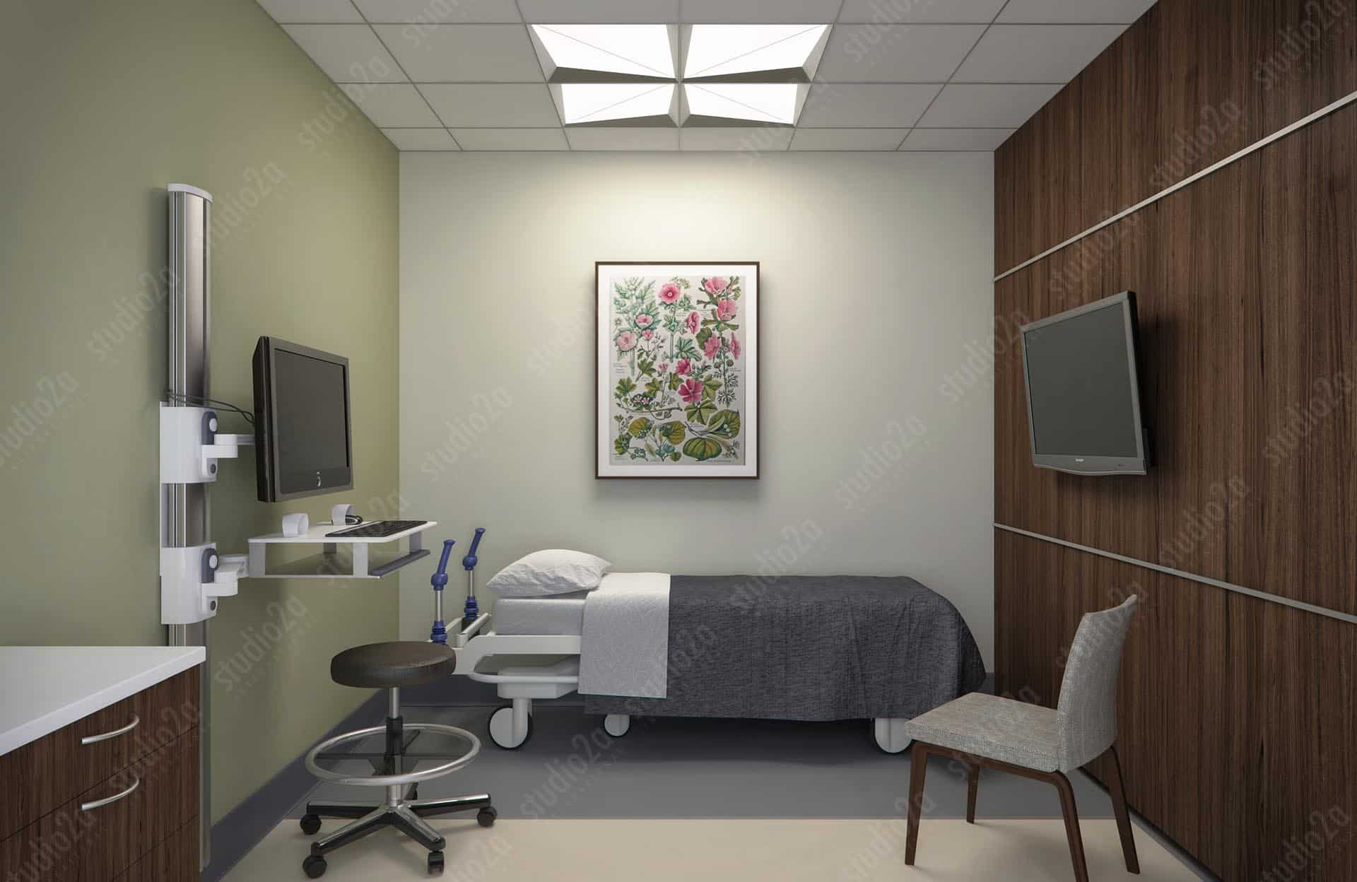 3d rendering interior healthcare focal point lighting fixture & 3D Product Renderings by Studio2a | FACETTA 2x2