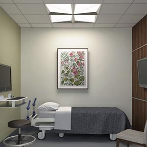 3Dd interior rendering and product rendering for healthcare product - focal point lighting fixture