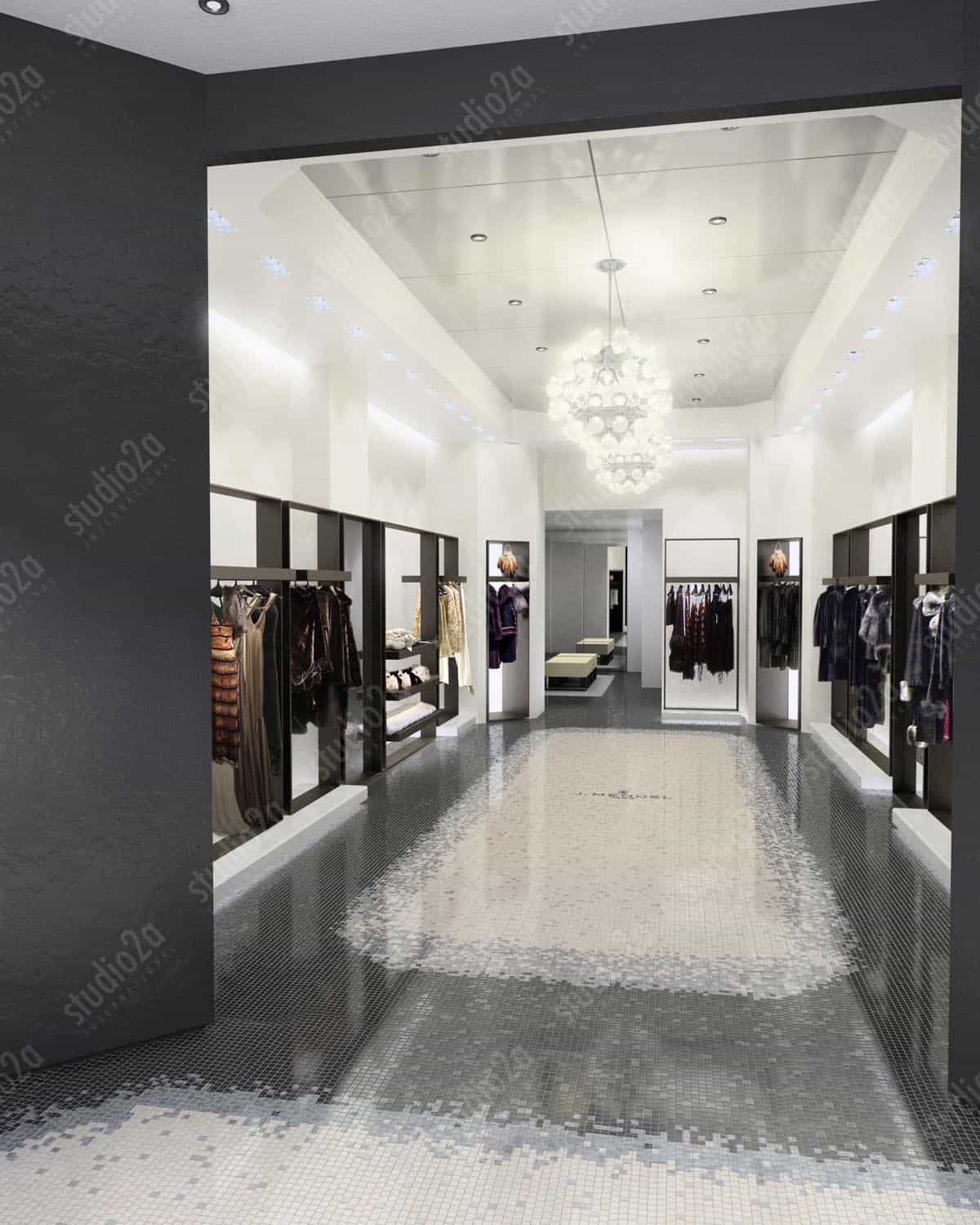 3d rendering interior retail michigan ave Chicago IL
