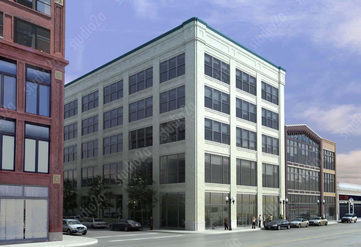 3d exterior rendering Motor Row Chicago