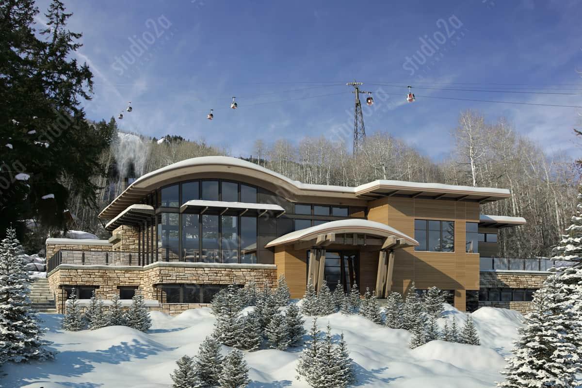 3d rendering Aspen Residence Exterior Winter