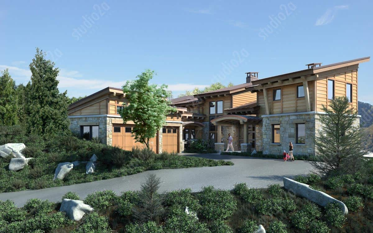 3d Architectural Exterior Rendering Mountain Residence