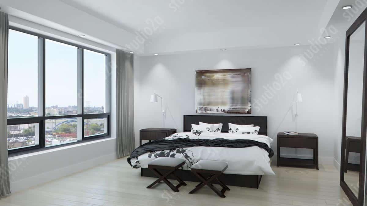 3d interior rendering Chicago condo 1018 Noir