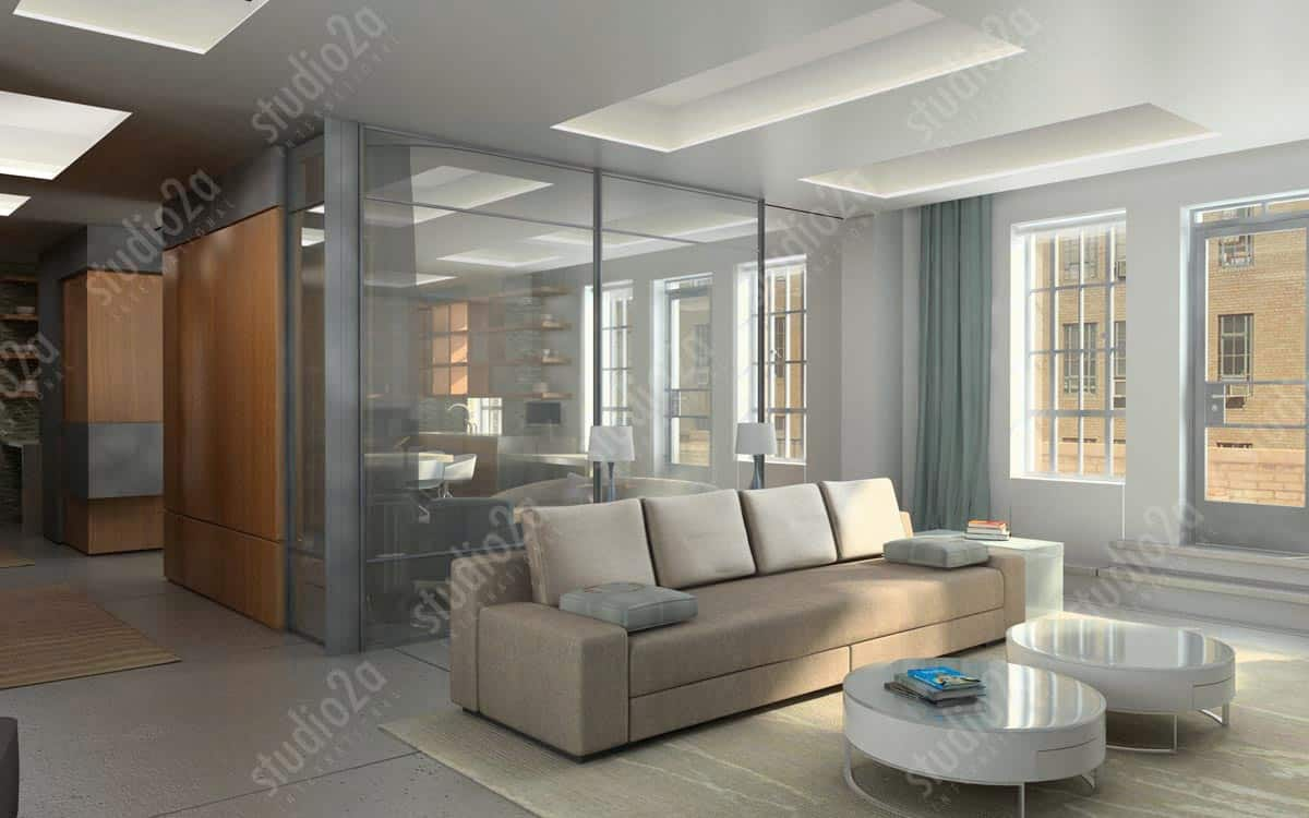 3d rendering penthouse interior NYC
