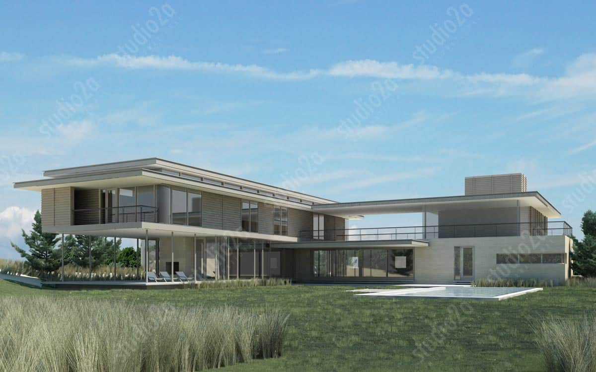 3d architectural rendering beach house hamptons NY