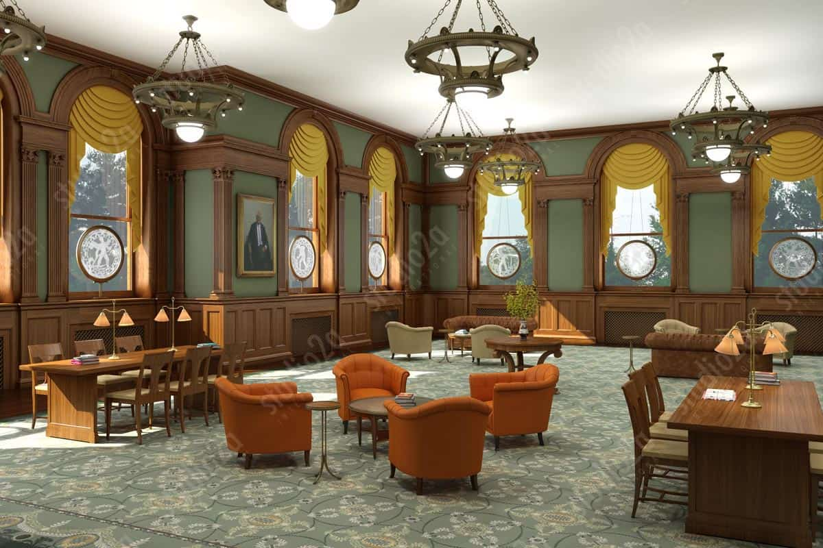 3d interior rendering WFP Hall Iowa