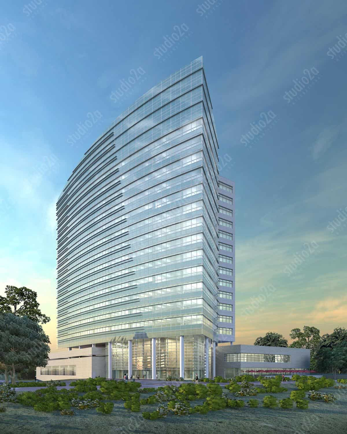 3d exterior rendering high rise California
