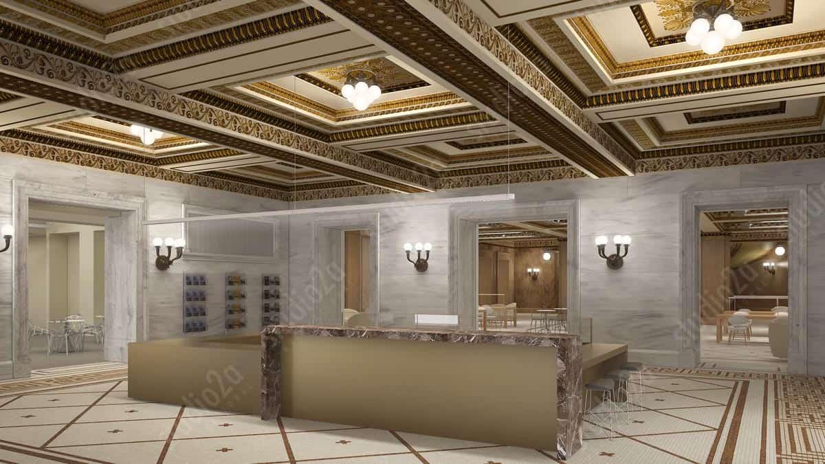 3d interior design rendering chicago cultural center