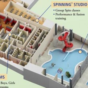 3d floor plan infographic rendering gym