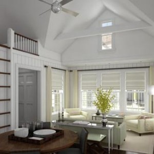 3d architectural rendering interior Nantucket RI residence