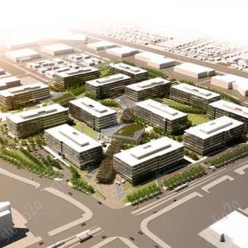 3d architectural rendering aerial yahoo campus